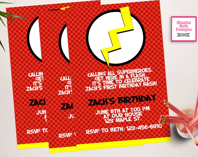 FLASH BIRTHDAY INVITATION, Personalized Flash Printable Birthday Invitation, Flash, Flash Birthday, Superhero Birthday, Flash Gordon