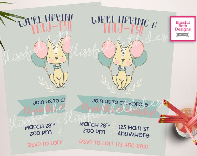 Puppy birthday party invitation, printable Puppy themed birthday invite, Girl birthday party, Digital puppy invitation, Dog party invitation