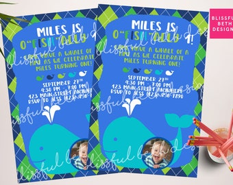 Whale First Birthday,  O'fishally One, Officially One, Whale of a Time, Whale Invitation,  Birthday Whale, Photo Invite, O'fish'alll