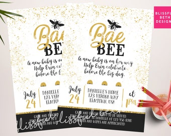 BaeBee  Shower Invitation, Personalized Bee Baby Shower Invitation, Black and Gold Baby Shower, Bee Baby Shower, Bee, Baby Bee, BaeBee