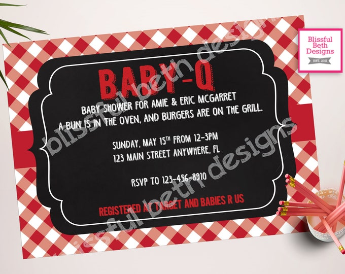 Baby-Q Baby Shower Invitation Package BABY-Q Shower Invitation Bun in the Oven, Burgers on the Grill Baby-Q, BBQ
