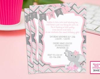 TUTU BIRTHDAY PARTY, Elephant TuTu Birthday Invitation, Second Birthday Invitation, Elephant Tutu, Pink Gray Girl Birthday Invitation, Tutu
