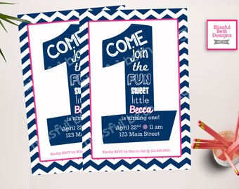 FIRST BIRTHDAY INVITATION Navy and Pink Birthday Invitation, Printable Chevron First Birthday Invitation, First Birthday Invite