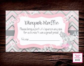 ELEPHANT TUTU DIAPER Raffle, Elephant Diaper Raffle Ticket, Diaper Raffle Ticket, Shower Diaper Raffle, Pink and Gray Elephant Diaper Raffle