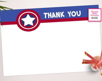 CAPTAIN AMERICA THANKS, Captain America Printable Thank You Notes, Instant Download, Instant Thank You Note, Thank You Note, Captain America