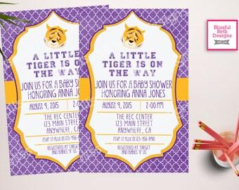 Tiger Baby Shower, Tiger Baby Shower Invitation, Tiger Baby Shower Invite,  Louisiana Tigers, Tiger Baby Shower, Tigers