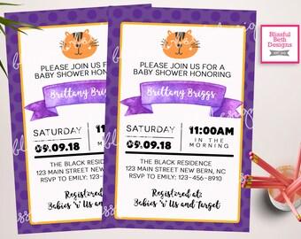 Tiger Baby Shower Invitation, Tiger Baby Shower Invite, Tiger Shower, Tigers, Purple and Gold Tiger Shower