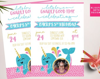 NARWHAL BIRTHDAY INVITATION, Printable Narwhal Invitation, Girly Narwhal Invitation, Narwhal  Invitation, Narwhal,