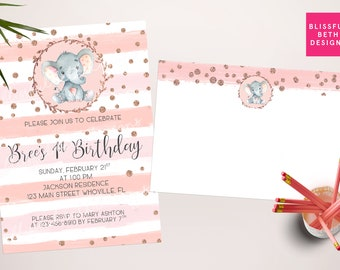 Rose gold Elephant Birthday Party, Elephant Birthday Invitation, Elephant Birthday, Elephant, Pink Gray Girl Birthday Invitation