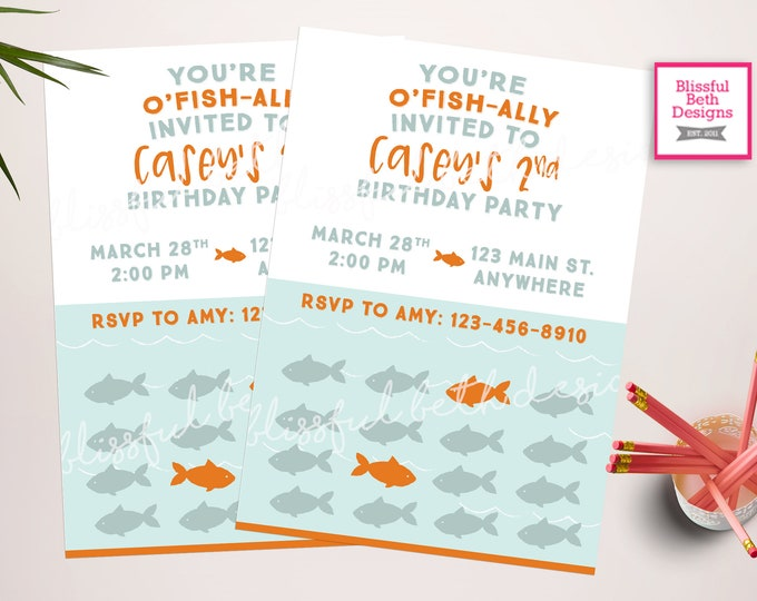 FISH BIRTHDAY INVITATION,  O'fishally Invited, O'fish'alll, Fish Birthday, O'Fish-ally, Second Birthday, Fish Invite, Fish Invitation