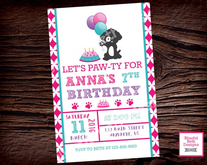 BIRTHDAY PAWTY INVITATION Puppy Printable Birthday Invitation, Puppy Pawty Birthday Invite,  Puppy Birthday Invitation, Puppy Birthday, Girl