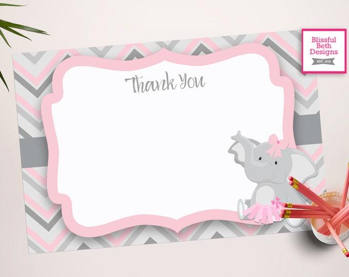 PINK ELEPHANT TUTU, Elephant Tutu Thank You Note,Thank You Note, Elephant Tutu, Pink Gray Baby Girl Thank You Note, Thanks, Thank You