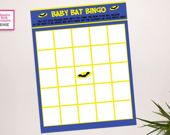Batman Baby Shower Bingo, Baby Shower Games, Baby Shower Bingo, Batman Bingo, Instant Download, Batman Instant Download, Ready to print