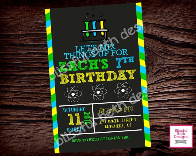 SCIENCE BIRTHDAY INVITATION, Mad Science Party, Science Experiment Birthday, Science Invitation, Science Invite, Science