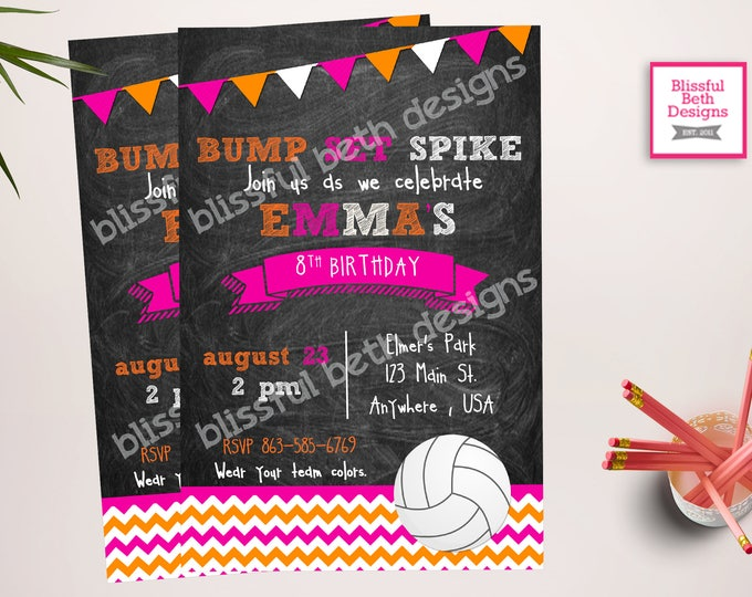 BUMP SET SPIKE Volleyball Birthday Invitation, Printable Volleyball Birthday Invitation, Volleyball Birthday Invite, Volleyball