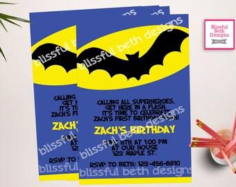 BATMAN BIRTHDAY INVITATION, Personalized Blue Batman Printable Birthday Invitation, Blue Batman, Batman Birthday, Bat Birthday, Batman
