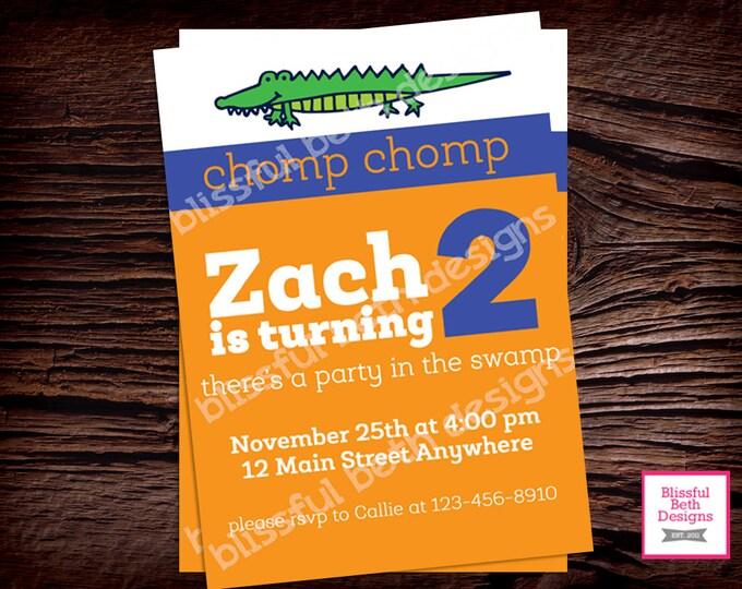 Gator Birthday Invite, Gator Birthday Invitation, Florida Birthday Invitation, Alligator Invitation, Florida Gator, Gators, Alligator