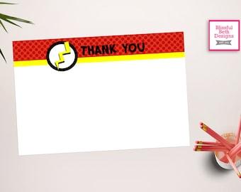FLASH THANK YOU Flash Printable Thank You Notes, Instant Download, Instant Flash Thank You Note, Thank You Note, Flash Note