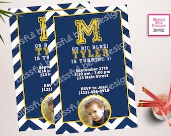 Michigan Birthday Invite, Michigan Birthday Invitation, Michigan Birthday Invitation, Michigan Invitation, Michigan, Big Blue, Go Big Blue