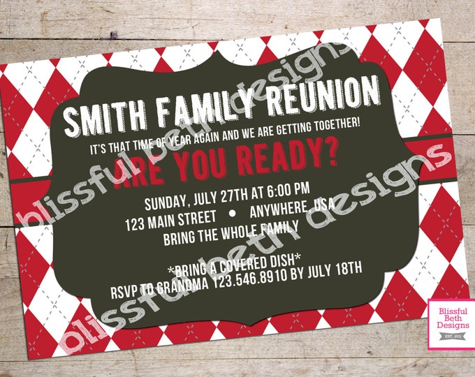 FAMILY REUNION Invitation Personalized Family Reunion Printable Invitation, Family Reunion Invite, Reunion Invite, Family Reunion Invitation
