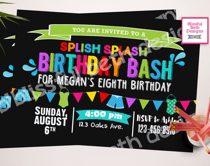 POOL PARTY INVITATION,  Birthday Pool Party Invitation, Personalized Pool Party, Pool Party, Splish Splash, Pool Party Invite, Pool