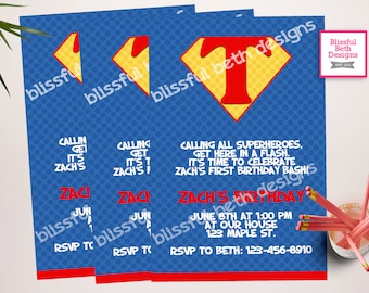 SUPERMAN BIRTHDAY INVITATION, Personalized Superman Printable Birthday Invitation, Superman, Superman Birthday, Superhero Birthday