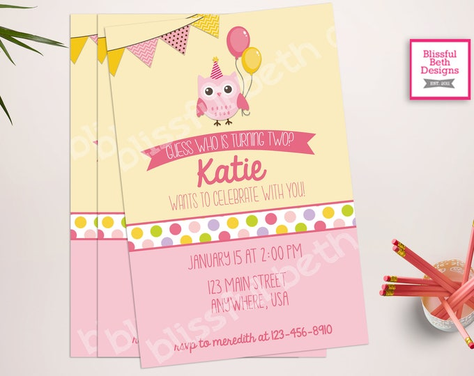 OWL BIRTHDAY INVITATION Pink Owl Birthday Invitation, Owl Birthday Invite, Owl Birthday Invitation, Owl, Owl Birthday