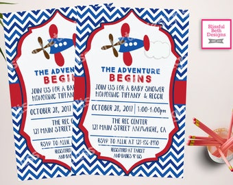 AIRPLANE BABY SHOWER, Plane Baby Shower, The Adventure Begins, Plane Shower, Baby Shower, Plane Baby Shower Invitation, Plane Invite