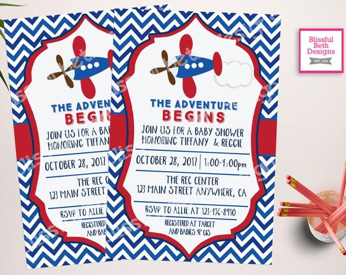 AIRPLANE BABY SHOWER, Plane Baby Shower, The Adventure Begins, Plane Shower, Baby Shower, Plane Baby Shower Invitation, Plane Invite