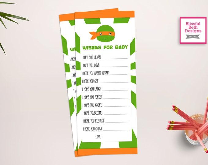 NINJA WISH LIST, Ninja Printable Wish List, Instant Download, Ninja Wish List for Baby, Baby Shower Wish List, Ninja Baby Shower, Turtle
