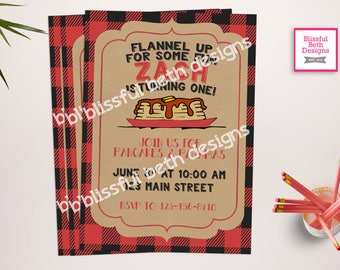 PANCAKES AND PAJAMAS Flapjack Birthday Invitation, Plaid Pancakes, Lumberjack Breakfast, Lumberjack Pancakes, Flannel Pancakes