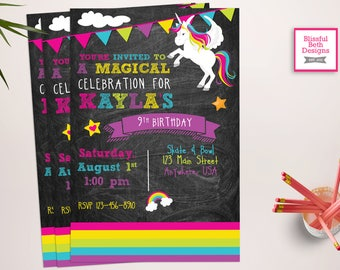 UNICORN BIRTHDAY INVITATION, Printable Unicorn Invitation, Girly Unicorn Invitation, Unicorn Photo Invitation, Magical, Rainbow, Unicorn