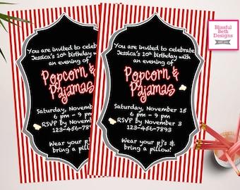 POPCORN PAJAMA INVITATION Popcorn and Pajamas, Sleep Over Invite, Movie Party, Printable Popcorn and Pajamas
