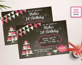 TEA PARTY INVITATION Personalized Tea Party Birthday Invite, Printable Tea Party Invite, Personalized Printable Tea Party Invitation