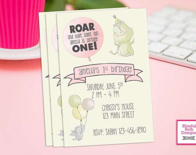 DRAGON BIRTHDAY INVITATION Pink/Green Dragon Birthday Invitation, Dragon Birthday Invite, Dragon Birthday, Dragon, First Birthday