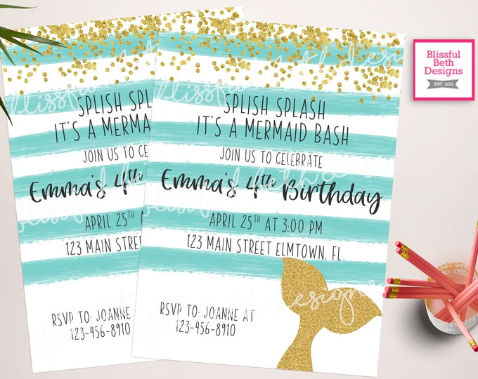Featured listing image: MERMAID BIRTHDAY INVITATION, Mermaid Bash Invitation, Mermaid Birthday, Splish Splash Mermaid Bash, Mermaid, Mermaid Invitation