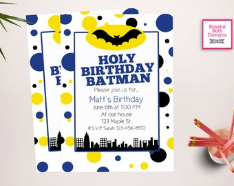 PERSONALIZED BATMAN INVITATION Personalized Batman Birthday Invitation (Polka Dots), Printable Batman Invitation, Personalized Batman