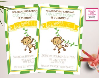 MONKEY BIRTHDAY INVITATION Going Bananas Birthday Invitation, Monkey Birthday Invite, Monkey Invitation, Monkey, Second Birthday