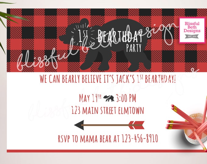 Bear Birthday Invitation, Bear Birthday, Little Bear Cub, Bear Party, Lumberjack Birthday, Flannel Birthday, First Birthday, Bear