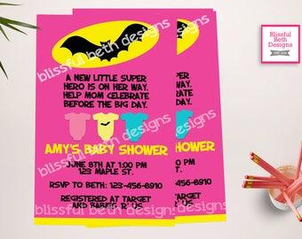 BATGIRL BABY SHOWER, Batgirl Baby Shower Invitation, Batgirl Shower Invitation, Batgirl Invite, Baby Batgirl, BatgirlShower Invite