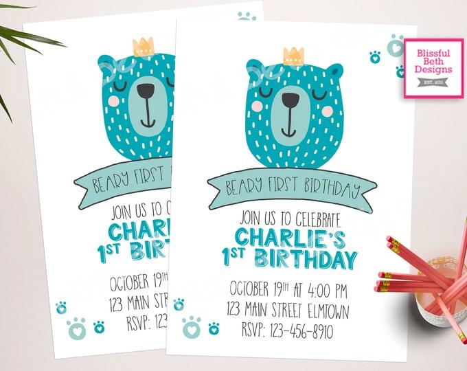 BEARY FIRST BIRTHDAY,  Beary First Birthday Invitation, Bear Birthday Invitation, Baby Bear Birthday Invitation, First Birthday Invitation