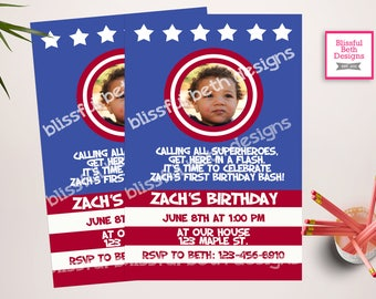 CAPTAIN AMERICA INVITATION,  Captain America Photo Birthday, American Hero Invitation, Captain America Birthday, Patriotic Photo Invite