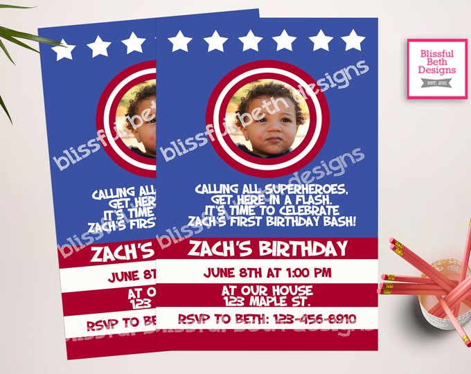 CAPTAIN AMERICA INVITATION,  Captain America Photo Birthday, American Hero Invitation, Captain America Birthday, Patriotic Photo Invite
