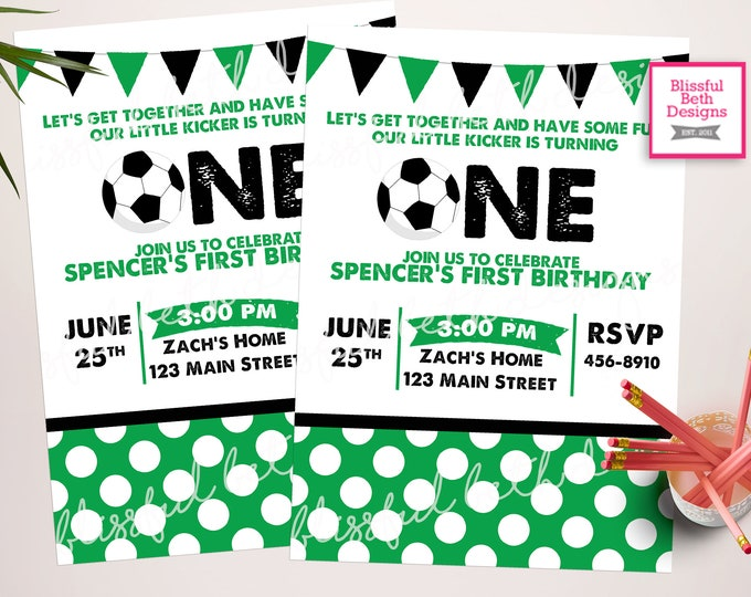 Soccer Birthday Invitation,  Soccer Invitation, Soccer Birthday, First Birthday, Little Kicker Birthday, Little Kicker