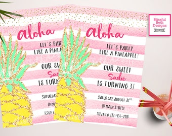 Party like a Pineapple Birthday Invitation, Aloha Birthday Invitation, Pineapple Birthday Invitation, Pineapple, Aloha, Pineapple Party