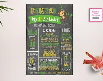 MONKEY CHALKBOARD POSTER, First Birthday Chalkboard Sign, Printable 1st Birthday Chalkboard Poster, Personalized Custom Sign