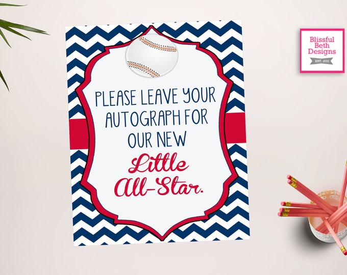 Little Slugger Autograph - Baseball  Sign -Baseball Baby Shower - Baseball Shower - Baseball Shower - Little All Star