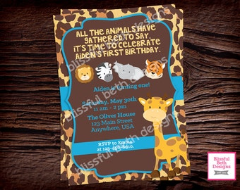 SAFARI BIRTHDAY INVITATION, Animal Birthday Invitation, Safari Birthday Invitation, Animal Birthday, Safari Birthday, Safari Birthday Invite