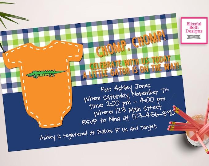 GATOR BABY SHOWER Gator Baby Shower Invitation, Florida Baby Shower Invitation, Gator Shower, Gator Invite, Alligator Baby Shower, Alligator