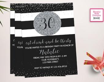 Black & Silver 30th Birthday Invitation, Eat, Drink and Be Thirty, 30th Birthday, glitter invitation, silver 30th Birthday Invitation,